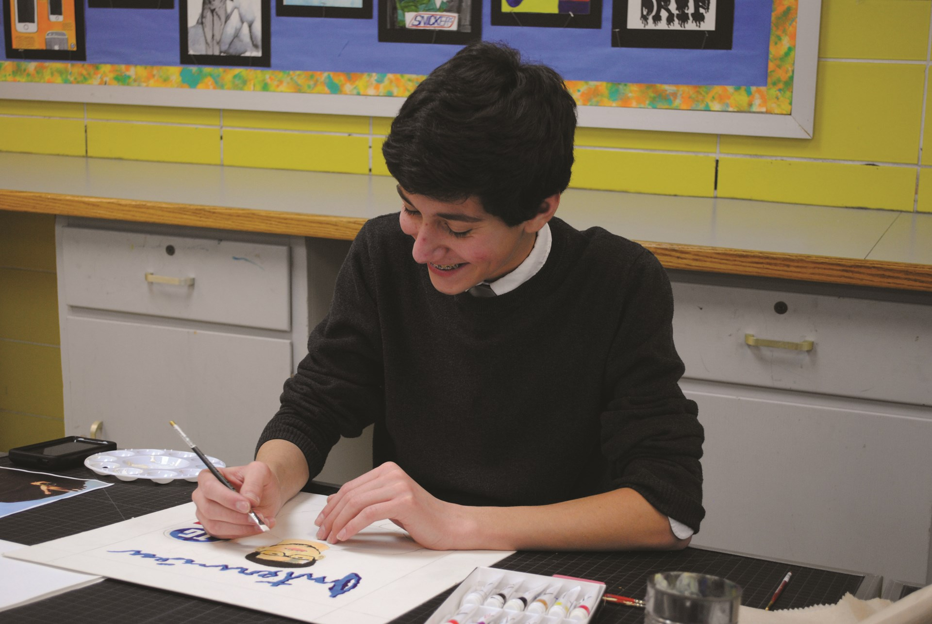 Photo of student painting