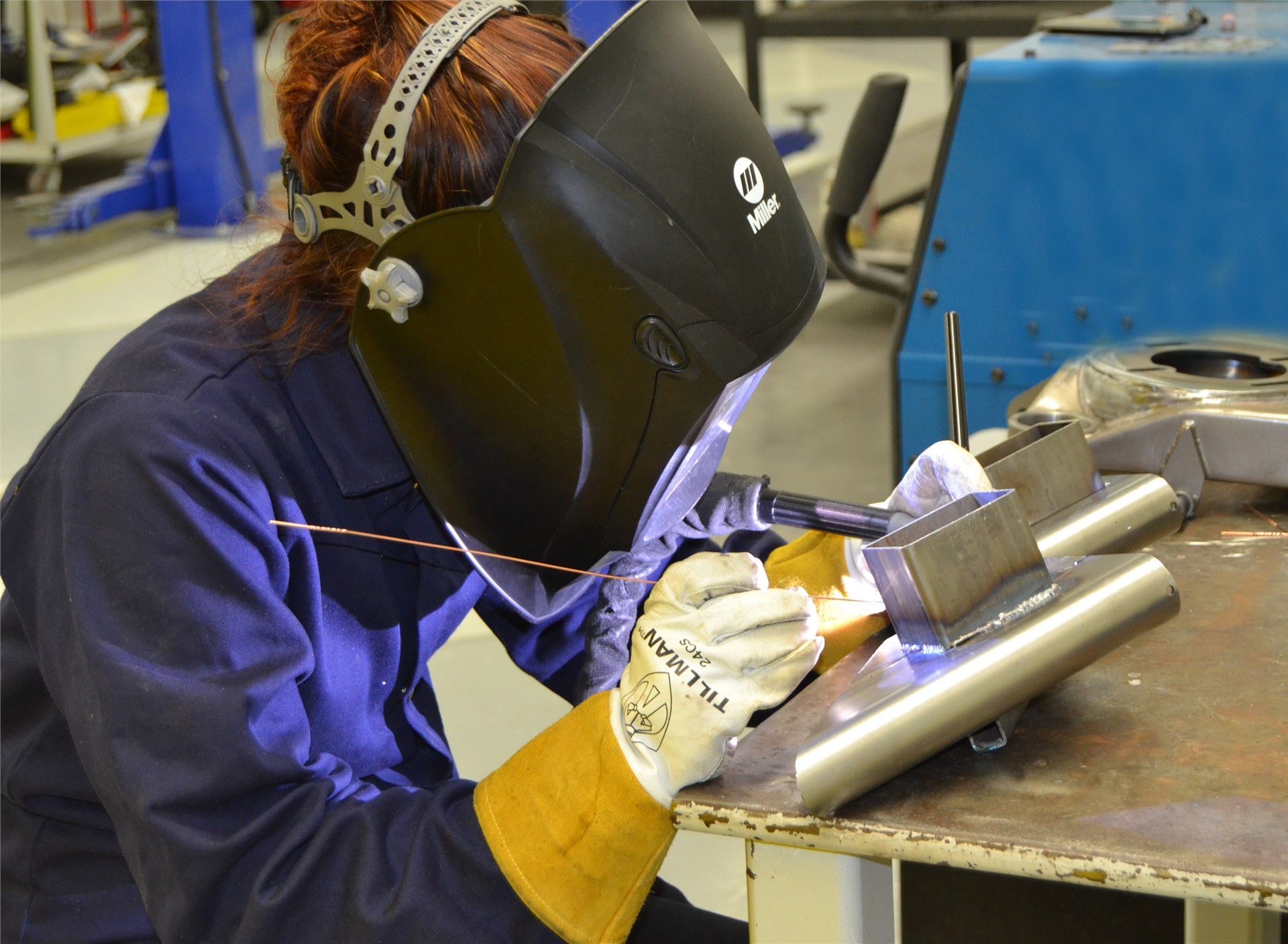 Student Welding at ThorSport Racing