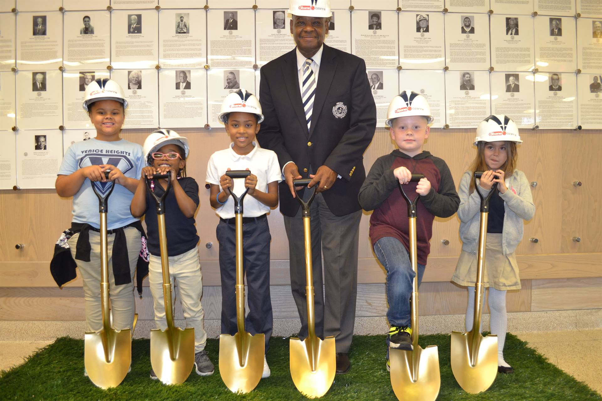 Dr. Sanders and Students at the Groundbreaking Ceremony