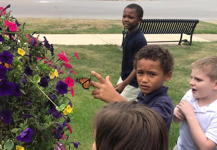 Students in Mrs. Pitcher's Class Release Monarch Butterflies in Downtown Sandusky