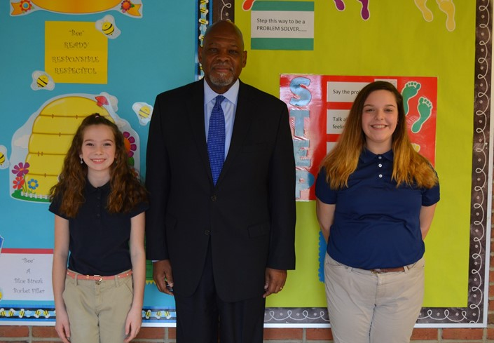 Dr. Sanders, Elli Pitcher, and Marina Colatruglio at Venice Heights Elementary