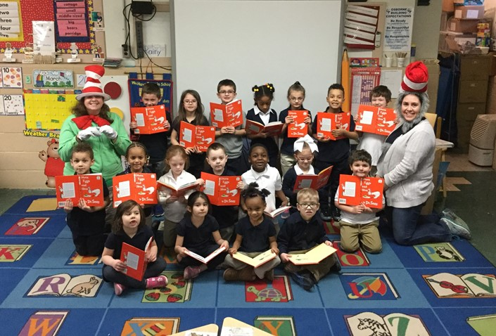 Mrs. de Lima's Osborne Kindergarten class celebrated Dr. Suess' birthday by reading to Mrs. Muratori