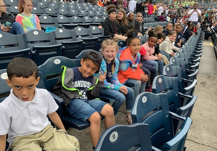 Hancock Elementary Students Attending A Mud Hens Game for Their End-of-the-Year Attendance Incentive
