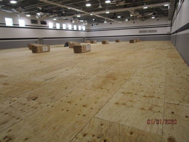 Gym Floor Plywood Installed